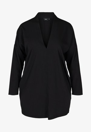 LONG-SLEEVED WITH A V-NECK - Tunic - black