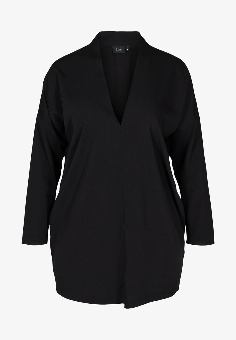 Zizzi - LONG-SLEEVED WITH A V-NECK - Tunic - black