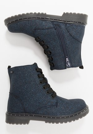 Lace-up ankle boots - navy glitter