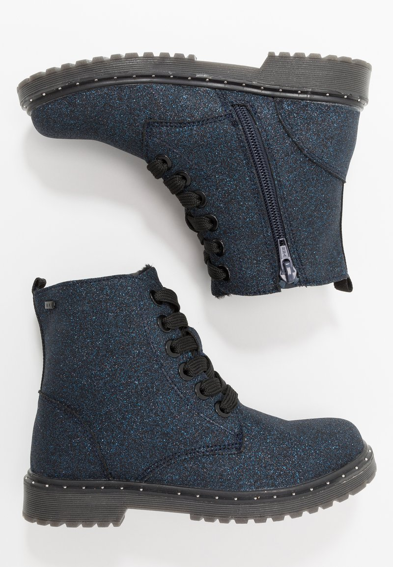 TOM TAILOR - Lace-up ankle boots - navy glitter