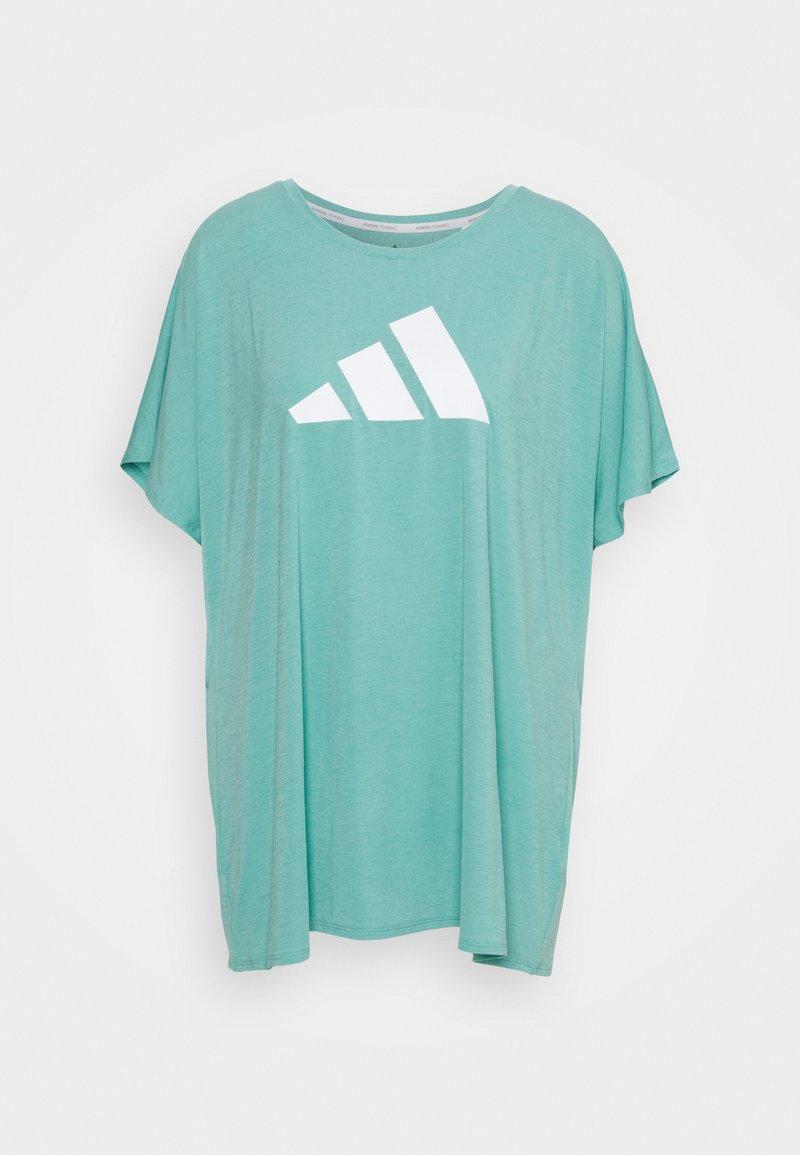 adidas Performance - 3 BAR TEE - T-shirts med print - mint ton/white