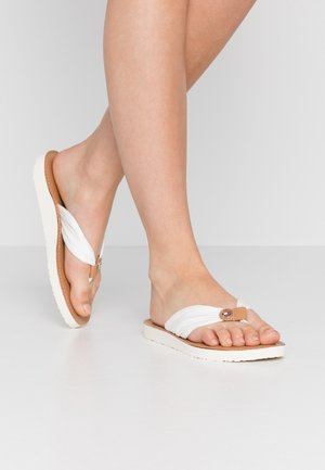 LEATHER FOOTBED BEACH SANDAL - T-bar sandals - ivory
