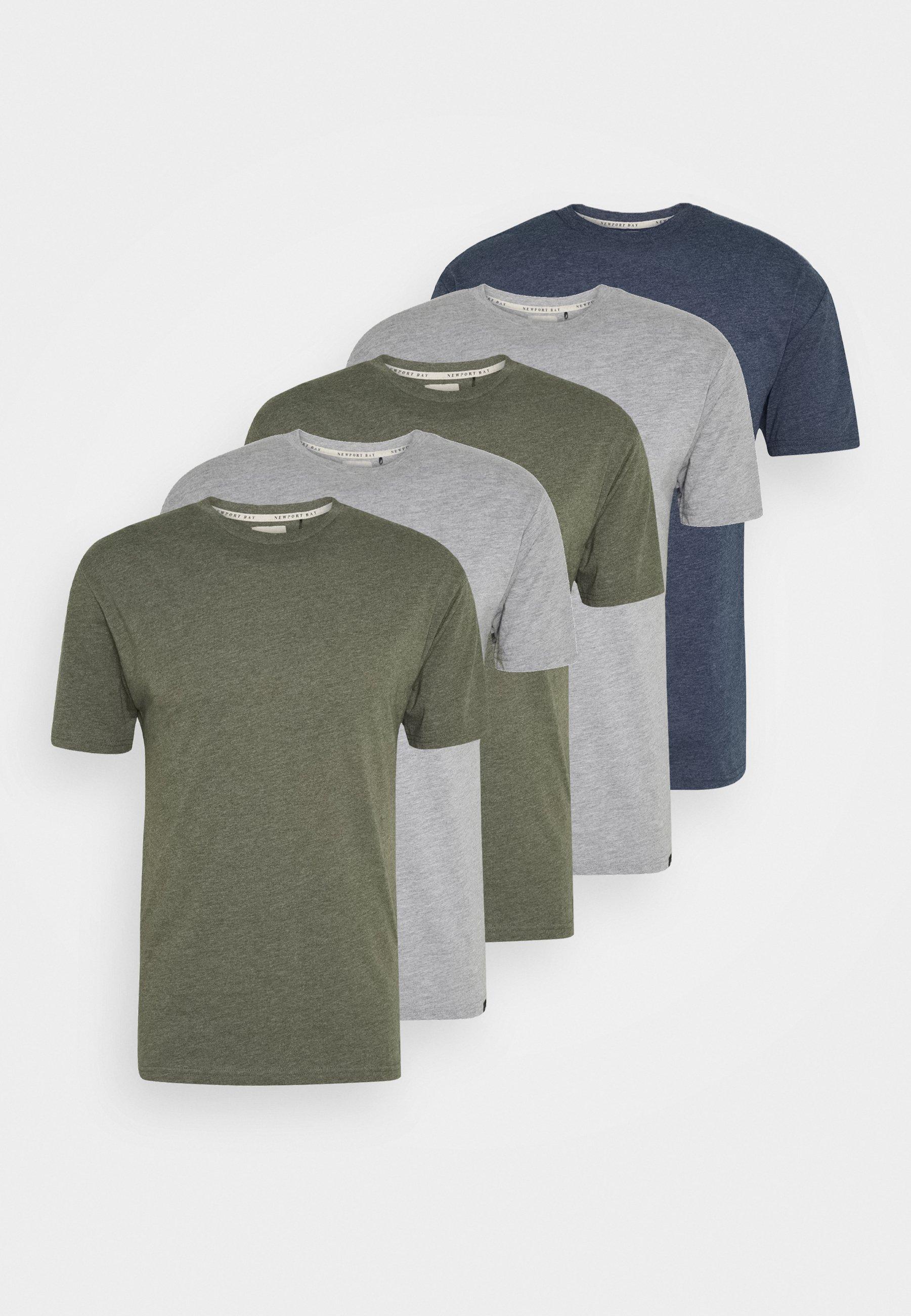 Newport Bay Sailing Club Tee 5 Pack - T-shirts Mottled Light Grey/lysegrå-melert