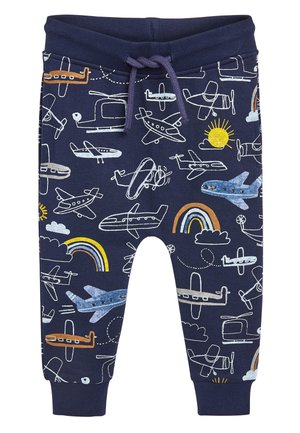 NAVY AEROPLANE ALL OVER PRINT JOGGERS (3MTHS-7YRS) - Pantaloni sportivi - blue