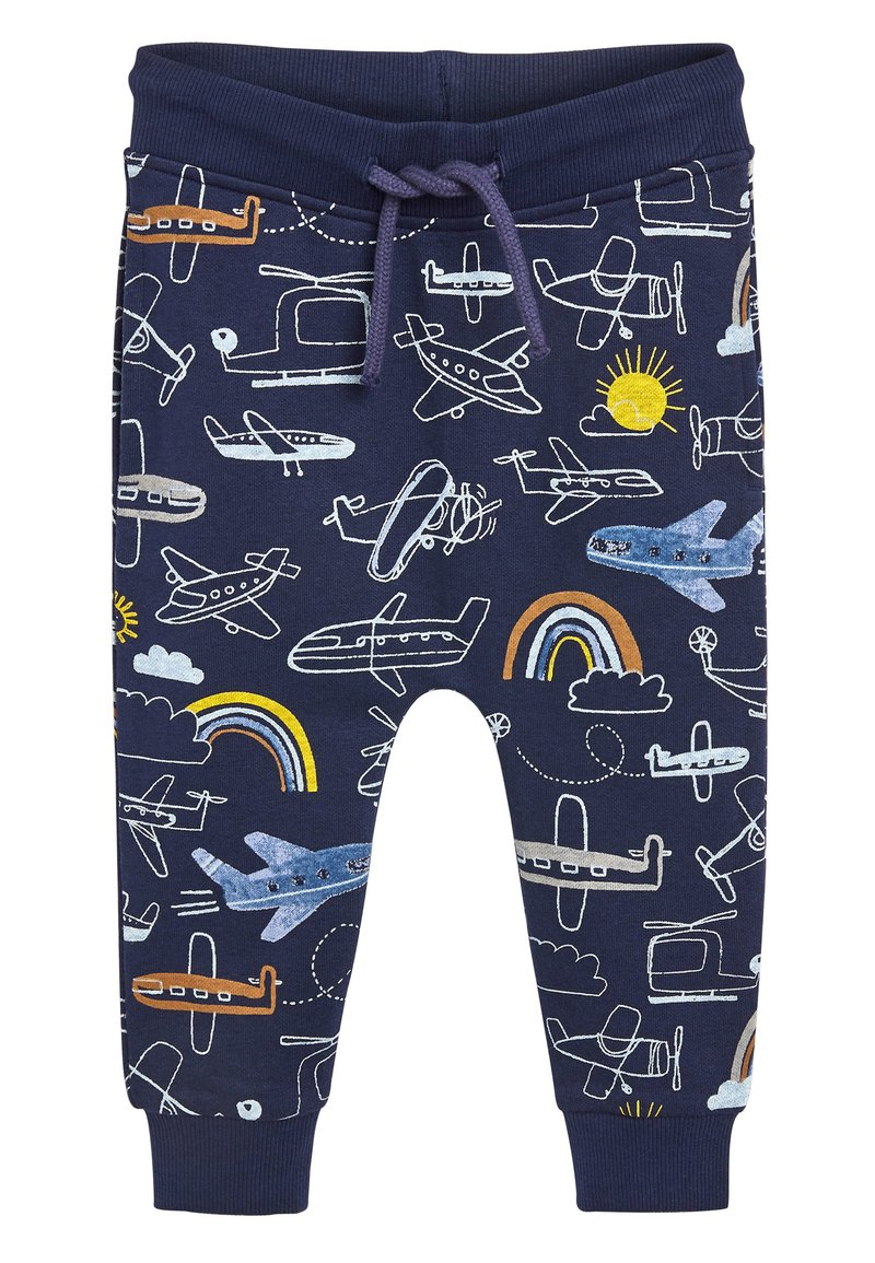 Next - NAVY AEROPLANE ALL OVER PRINT JOGGERS (3MTHS-7YRS) - Tracksuit bottoms - blue