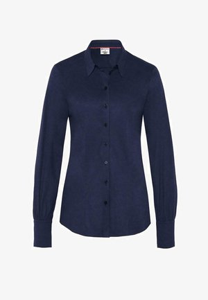 Button-down blouse - solid midnight blue