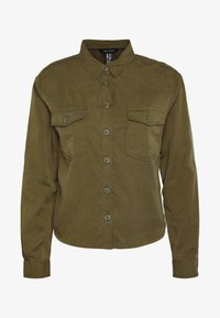 New Look - PATCH POCKET CROP - Button-down blouse - dark khaki - 4