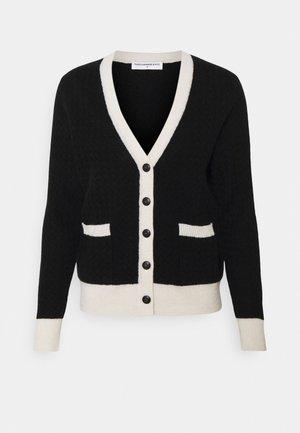 COLOR BLOCK JACQUARD CARDIGAN - Cardigan - black/white
