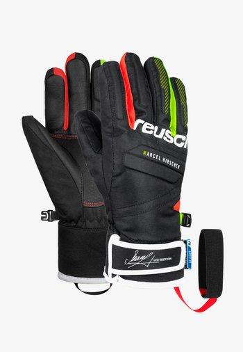 Fingerless gloves - black/fire red