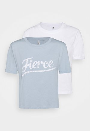 ONLMOLLY LIFE TEXT 2 PACK - Print T-shirt - bright white/blue fog