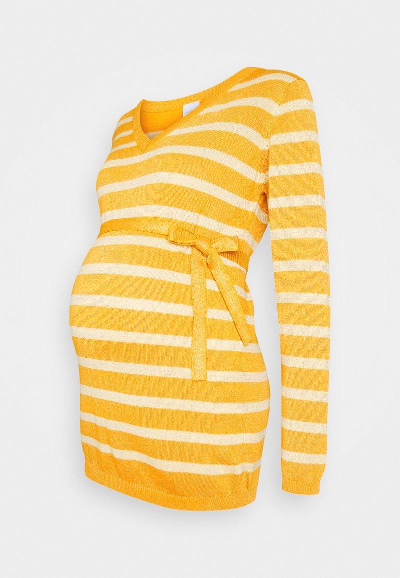 MAMALICIOUS - MLBLACK V-NECK - Jersey de punto - mineral yellow/sunlight
