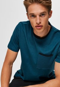 Selected Homme - T-shirt imprimé - teal - 3