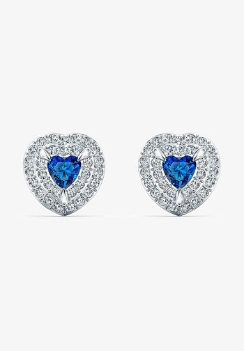 ONE STUD PIERCED EARRINGS, BLUE, RHODIUM PLATED - Earrings - silber