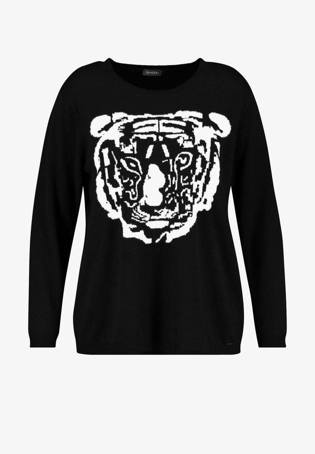 MIT TIGER-MOTIV - Sweater - black gemustert