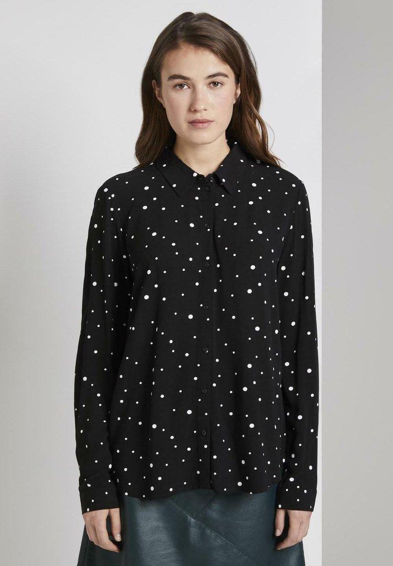 TOM TAILOR DENIM - Camisa - black/white