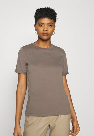 PCRIA FOLD UP TEE - Basic T-shirt - brown