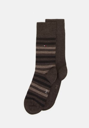MEN DUO STRIPE SOCK 2 PACK - Ponožky - brown