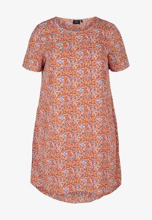 MIT KURZEN ÄRMELN - Day dress - orange flower aop