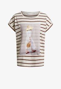 Oui - T-SHIRT IN LEGÉREN SCHNITT - Print T-shirt - offwhite brown - 5