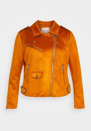 CARSHERRY BONDED BIKER - Faux leather jacket - pumpkin spice
