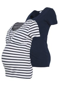 MAMALICIOUS - 2 PACK MLLEA TESS MIX TOP  - T-shirts med print - snow white / navy - 0