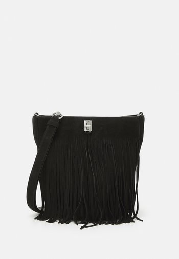 DARREN BUCKET BAG FRINGE - Handbag - black
