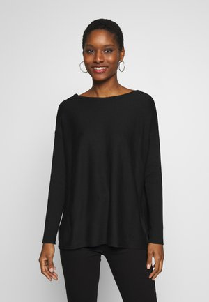 BASIC- RELAXED BOAT NECK JUMPER - Stickad tröja - black