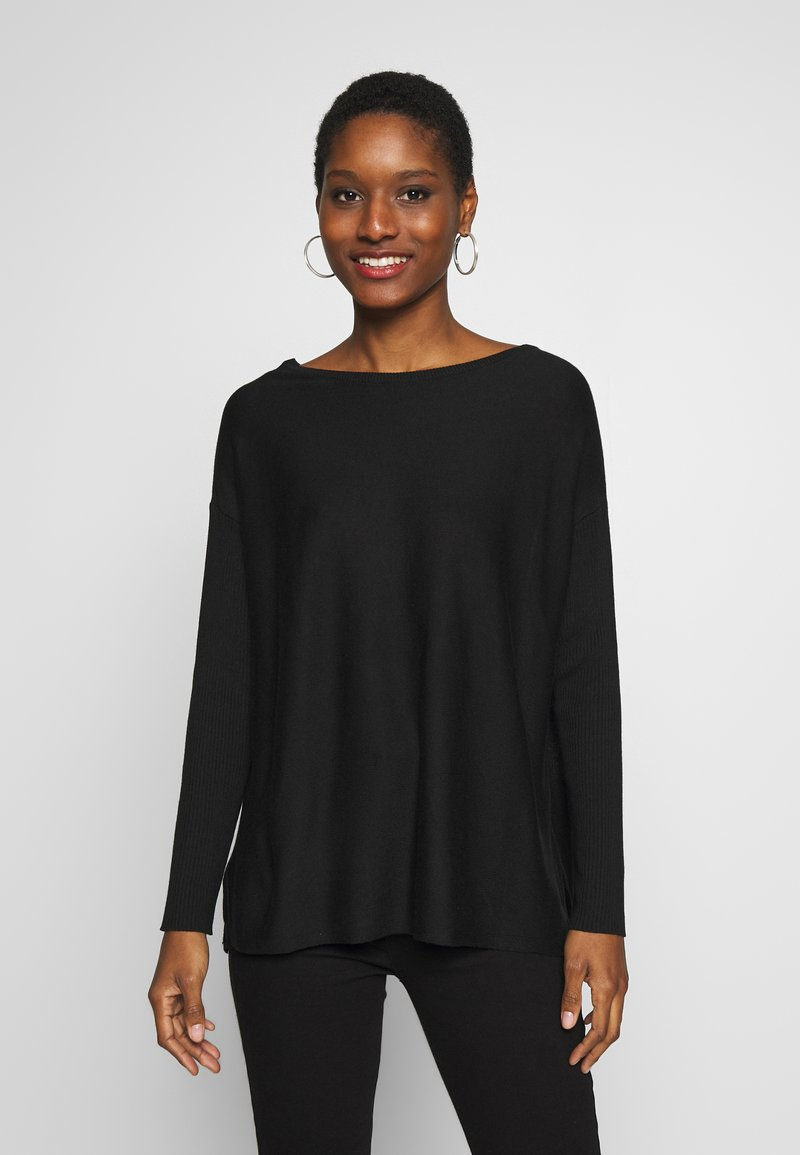 Anna Field - BASIC- RELAXED BOAT NECK JUMPER - Strikkegenser - black