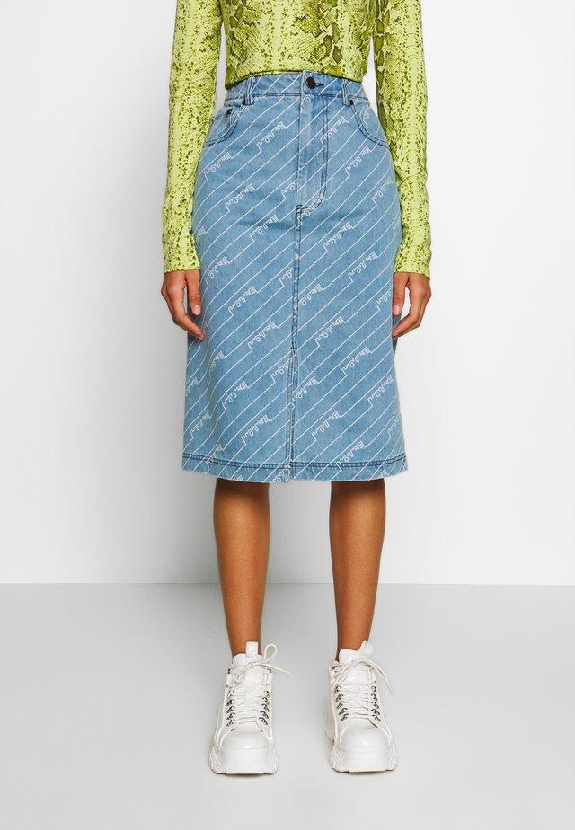 MONOGRAM SKIRT - Pencil skirt - light blue