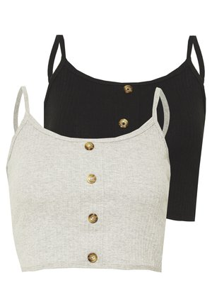 BUTTON DOWN CROP CAMI 2 PACK  - Top - grey/black