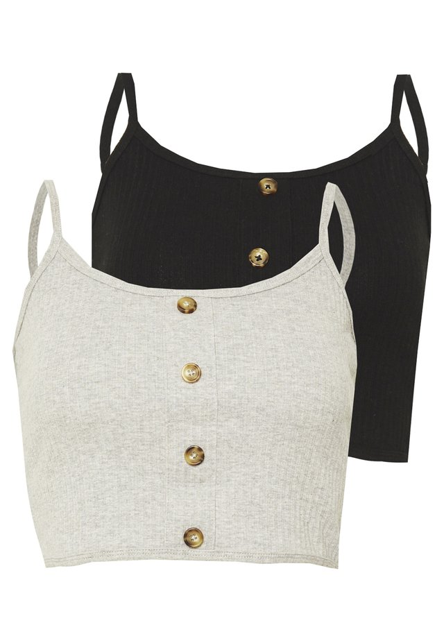 BUTTON DOWN CROP CAMI 2 PACK  - Toppi - grey/black