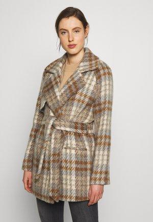 LANA CHECK - Classic coat - faded denim