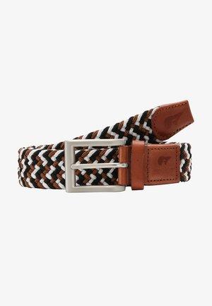 Braided belt - black/white/brown