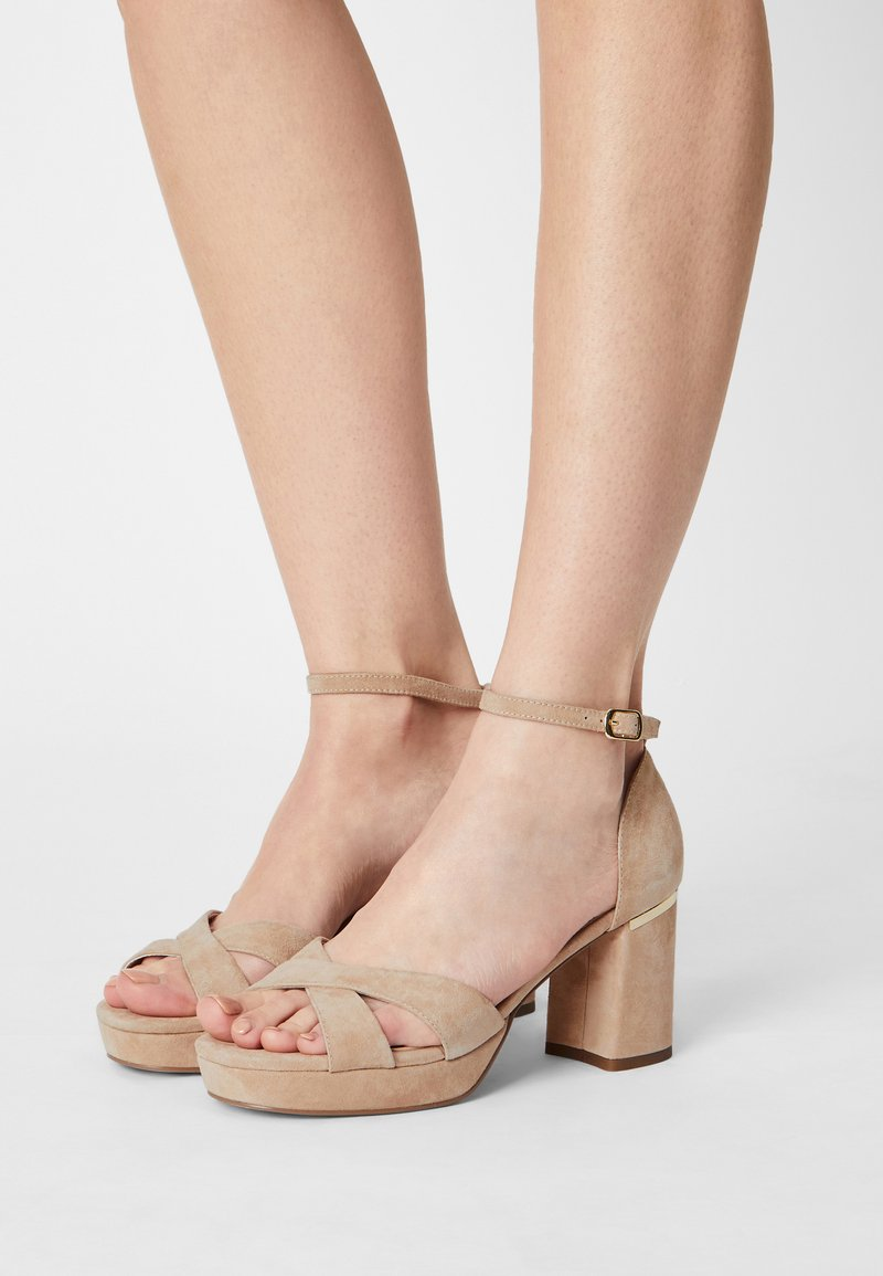 Anna Field Wide Fit - LEATHER - Korkeakorkoiset sandaalit - beige