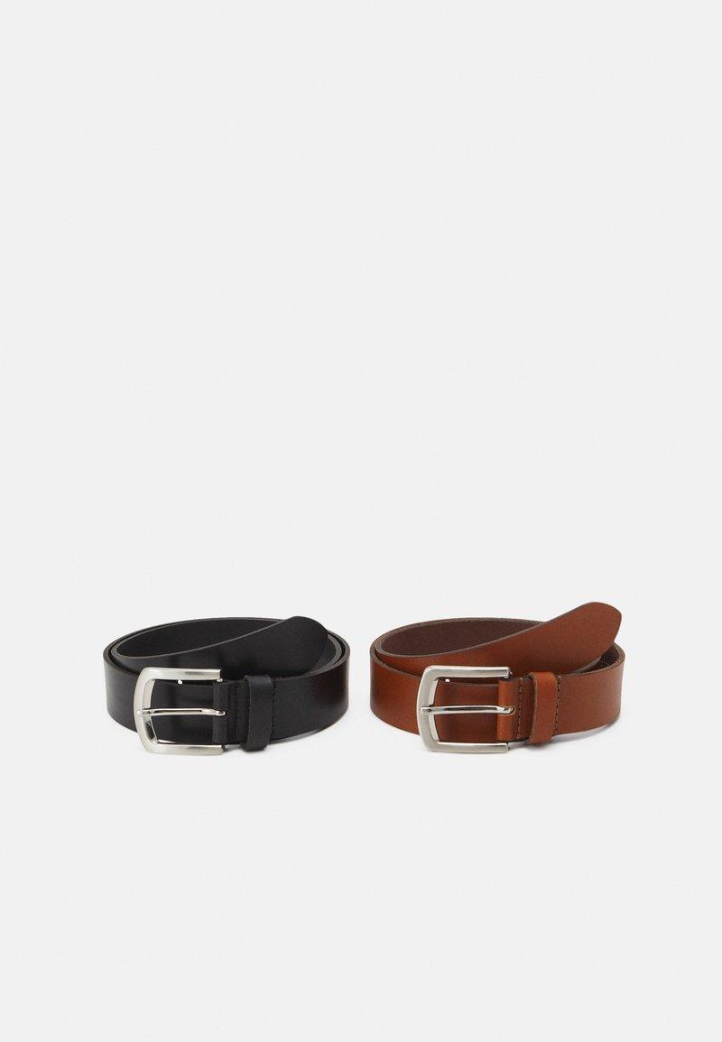 Pier One - LEATHER 2 PACK - Cintura - cognac/black