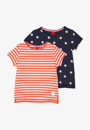 2 PACK - T-shirt print - red stripes navy daisies