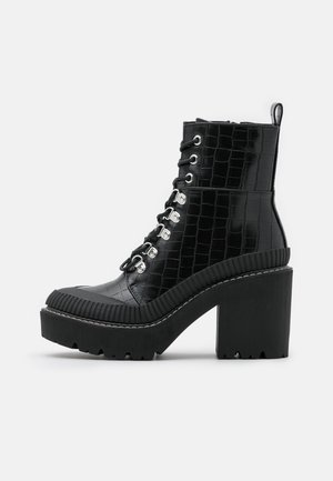 BLAIR LACE UP CHUNKY BOOT - Platform ankle boots - black