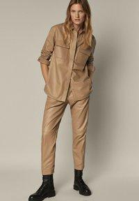 Massimo Dutti - Leather jacket - beige - 1