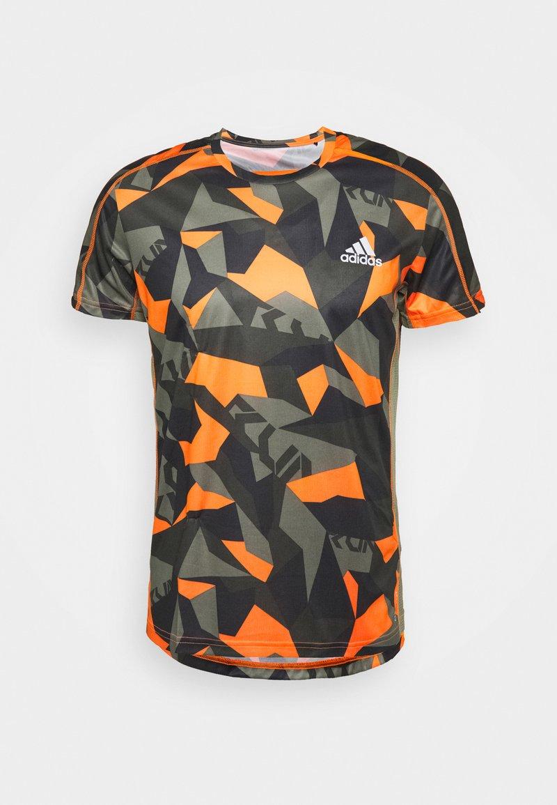 adidas Performance - RESPONSE PRIMEGREEN RUNNING SHORT SLEEVE TEE - Print T-shirt - legacy green/signal orange