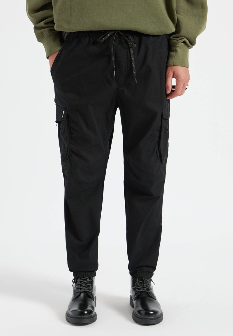 PULL&BEAR - Cargo trousers - mottled black
