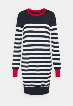 VMLACOLE STRIPE BALLOON DRESS  - Jumper dress - navy blazer/white snow