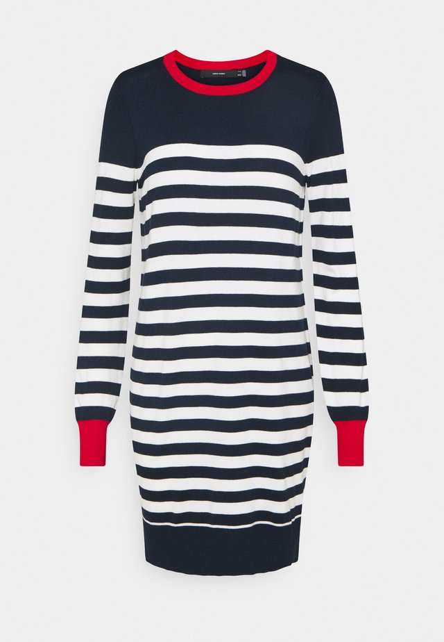 VMLACOLE STRIPE BALLOON DRESS  - Vestido de punto - navy blazer/white snow