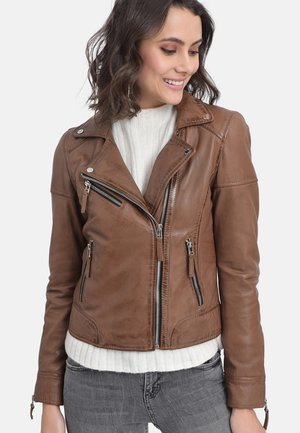 SALOME - Leather jacket - cognac