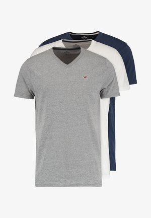 3 PACK - Basic T-shirt - white grey navy