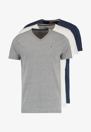 3 PACK - T-shirt - bas - white grey navy