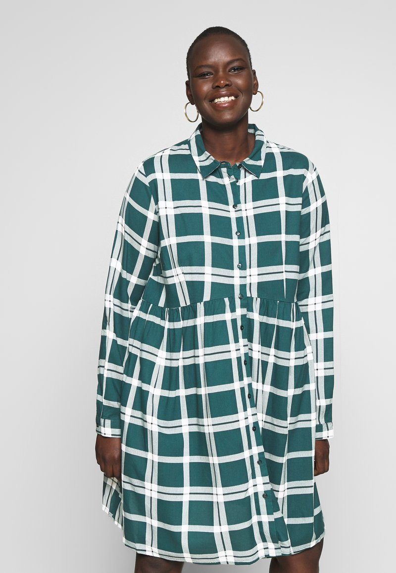 CAPSULE by Simply Be - BUTTON THRU SMOCK DRESS - Shirt dress - dark green/white