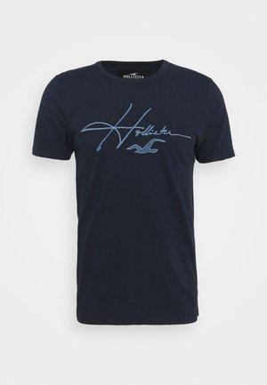 TECH MICRO SCRIPT - T-shirts print - navy macro