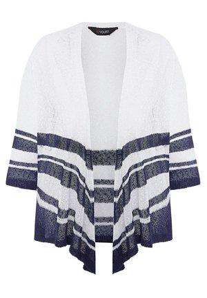 STRIPE BORDER WATERFALL  - Cardigan - white
