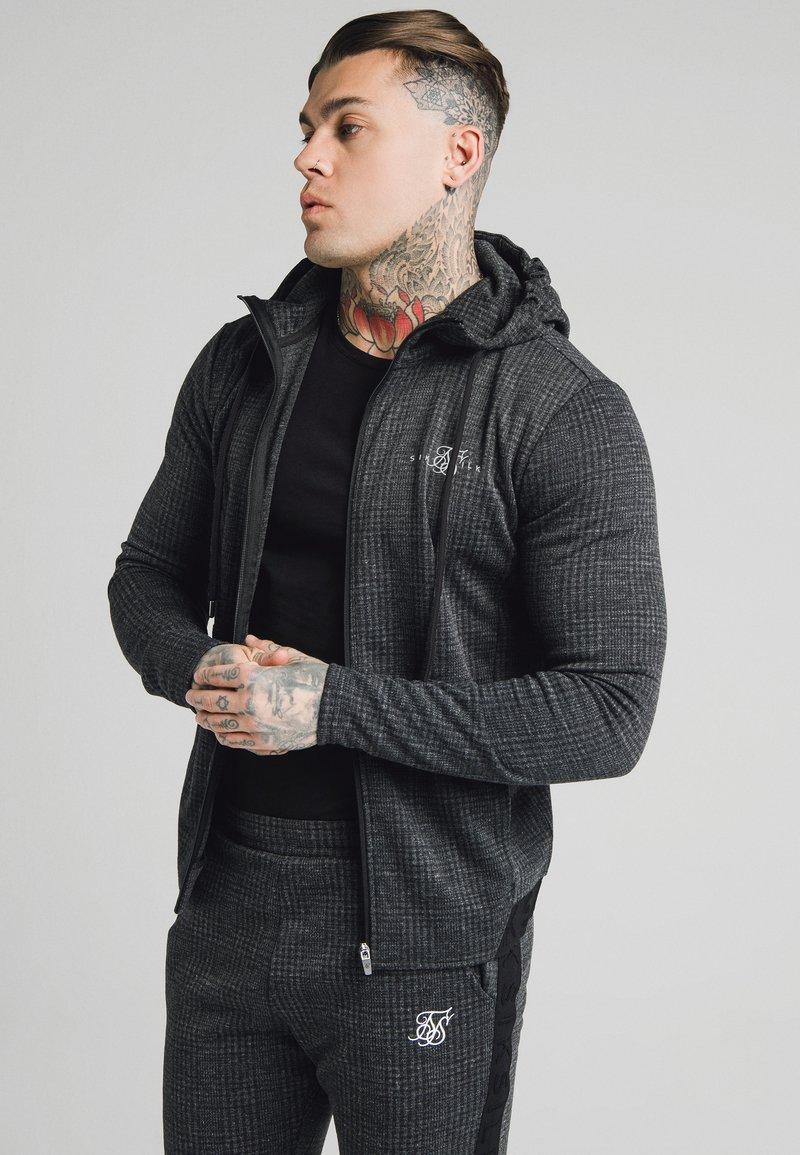SIKSILK - TONAL CHECK AGILITY ZIP THROUGH HOODIE - Summer jacket - grey