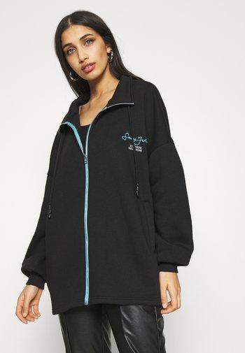 OVERSIZED ZIP FRONT - Zip-up sweatshirt - black